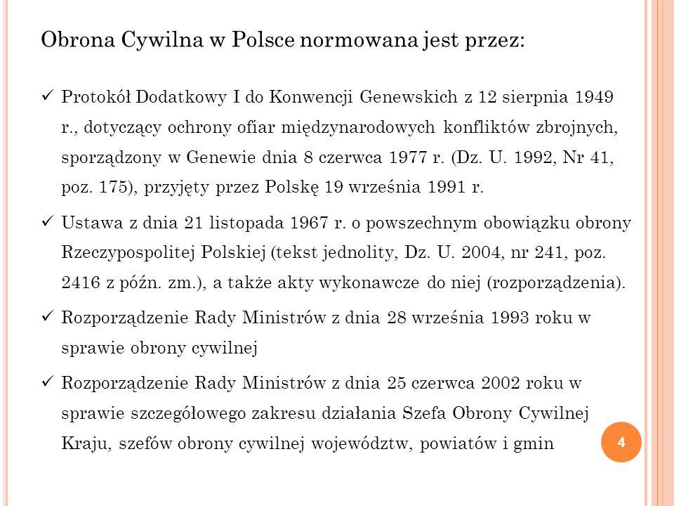 Obrona Cywilna w Polsce normowana jest przez: