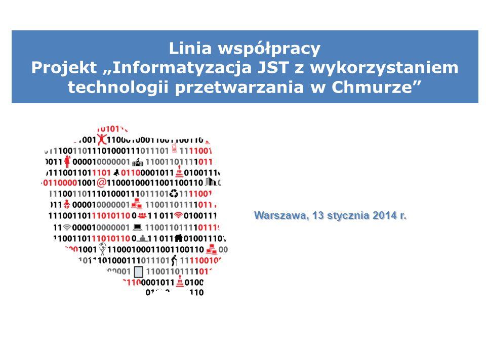 """Linia współpracy Projekt """"Informatyzacja JST z wykorzystaniem technologii przetwarzania w Chmurze Warszawa, 13 stycznia 2014 r."""