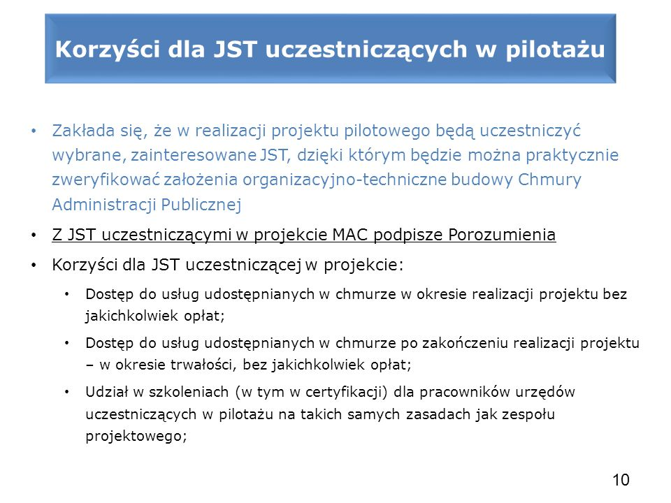 Korzyści dla JST uczestniczących w pilotażu
