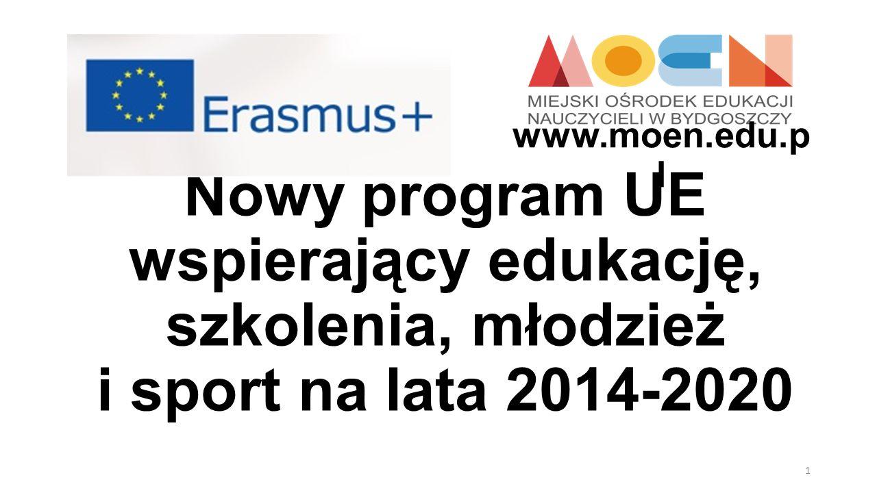 www.moen.edu.pl Nowy program UE wspierający edukację, szkolenia, młodzież i sport na lata 2014-2020.