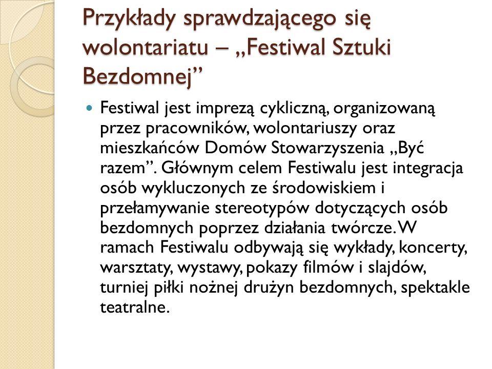 """Przykłady sprawdzającego się wolontariatu – """"Festiwal Sztuki Bezdomnej"""