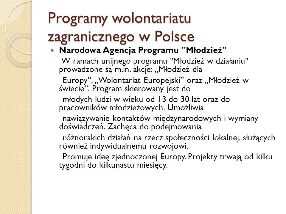 Programy wolontariatu zagranicznego w Polsce