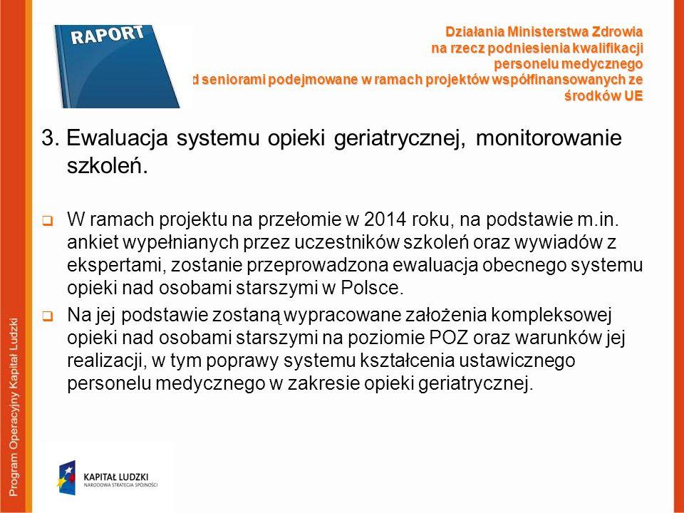 3. Ewaluacja systemu opieki geriatrycznej, monitorowanie szkoleń.