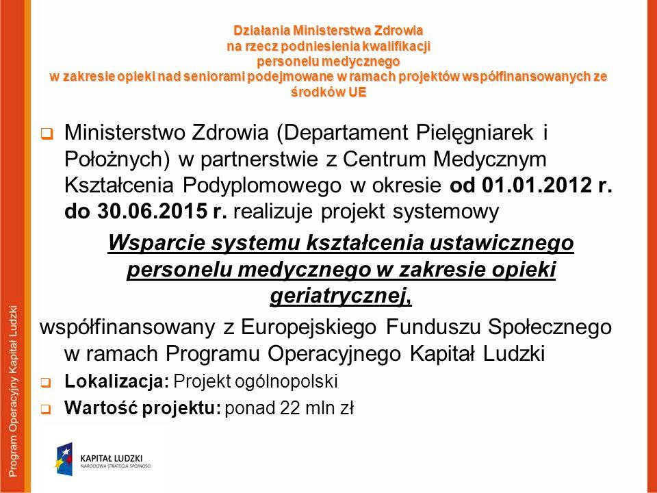 Działania Ministerstwa Zdrowia na rzecz podniesienia kwalifikacji personelu medycznego w zakresie opieki nad seniorami podejmowane w ramach projektów współfinansowanych ze środków UE