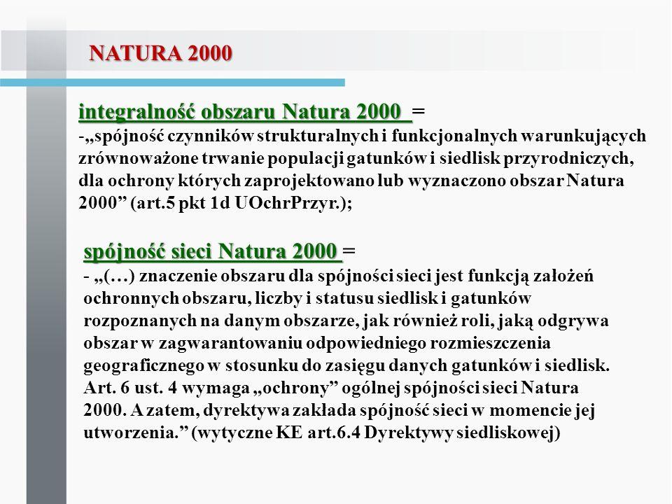 integralność obszaru Natura 2000 =