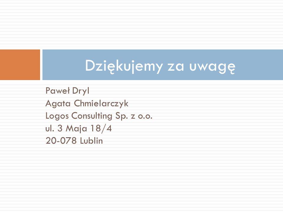 Dziękujemy za uwagę Paweł Dryl Agata Chmielarczyk