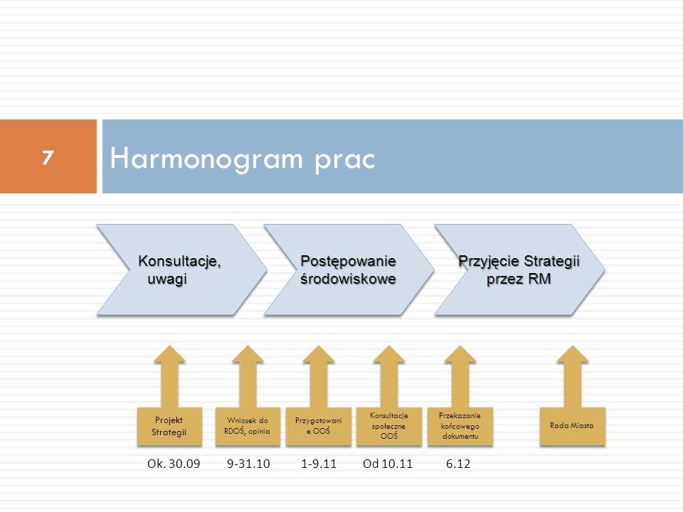 Harmonogram prac Konsultacje, uwagi Postępowanie środowiskowe