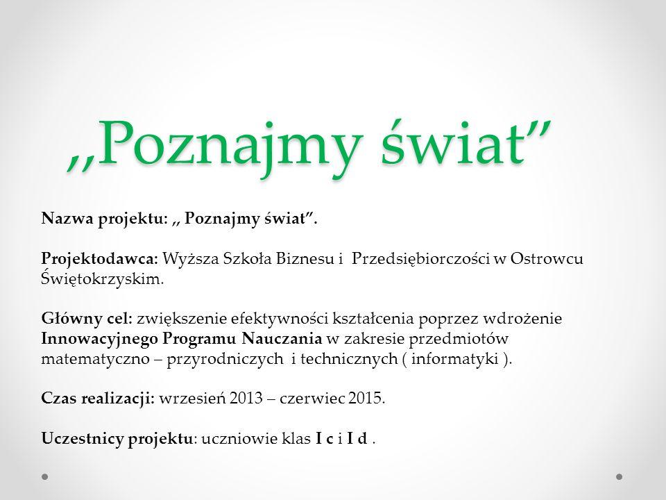 ,,Poznajmy świat Nazwa projektu: ,, Poznajmy świat .