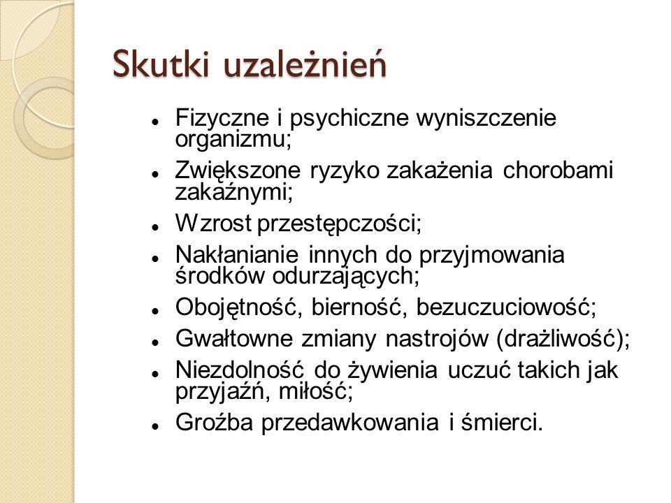 Skutki uzależnień Fizyczne i psychiczne wyniszczenie organizmu;