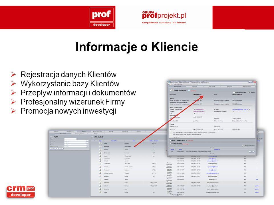 Informacje o Kliencie Rejestracja danych Klientów
