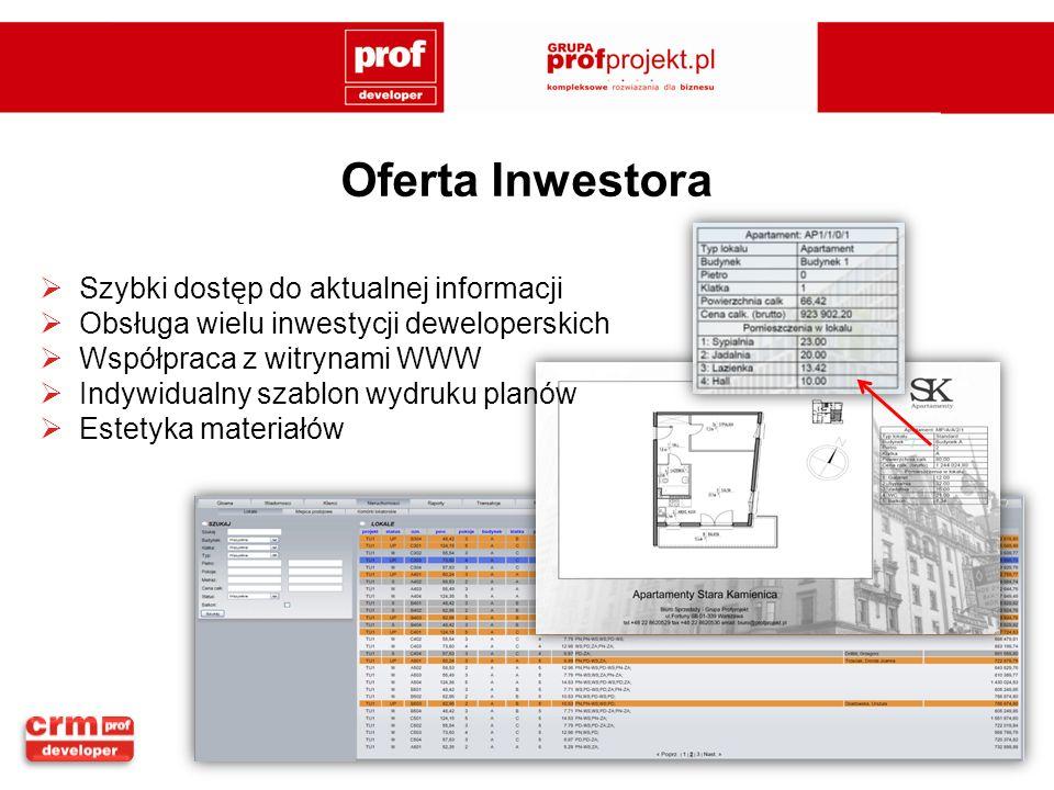 Oferta Inwestora Szybki dostęp do aktualnej informacji