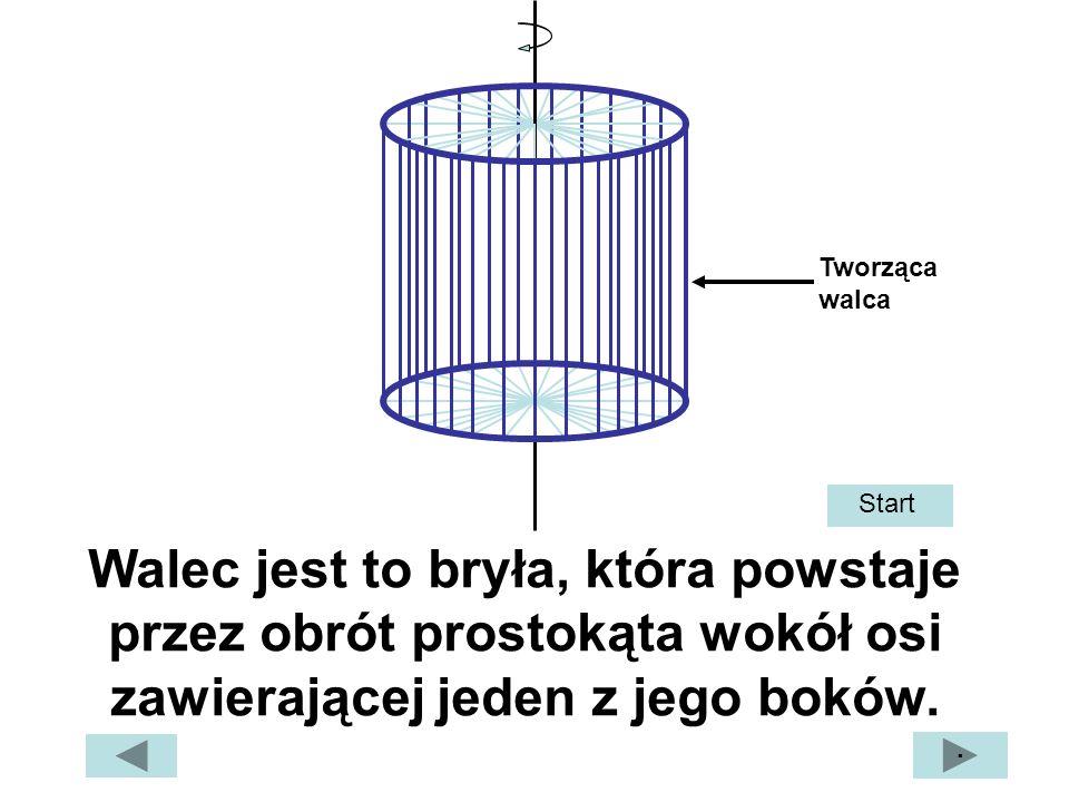 Tworząca walca Start. Walec jest to bryła, która powstaje przez obrót prostokąta wokół osi zawierającej jeden z jego boków.