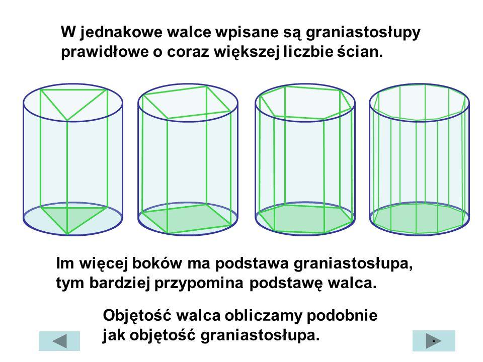Objętość walca obliczamy podobnie jak objętość graniastosłupa.