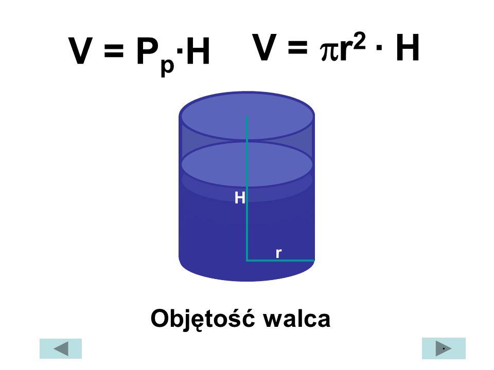 V = r2 · H V = Pp·H H r Objętość walca ·
