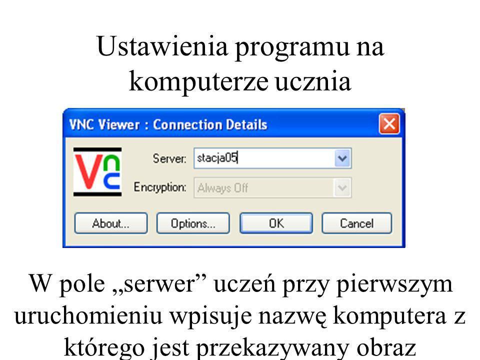 Ustawienia programu na komputerze ucznia