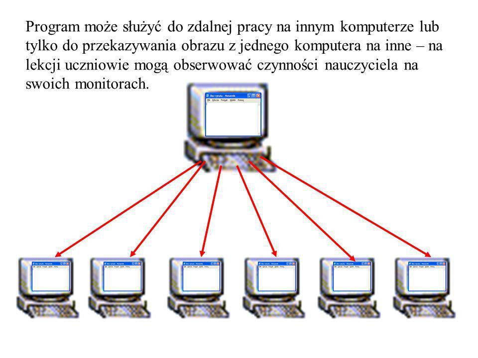 Program może służyć do zdalnej pracy na innym komputerze lub tylko do przekazywania obrazu z jednego komputera na inne – na lekcji uczniowie mogą obserwować czynności nauczyciela na swoich monitorach.