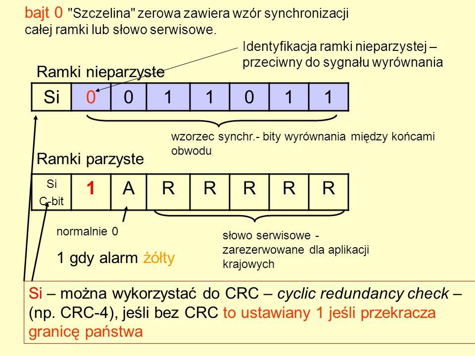 bajt 0 Szczelina zerowa zawiera wzór synchronizacji całej ramki lub słowo serwisowe.