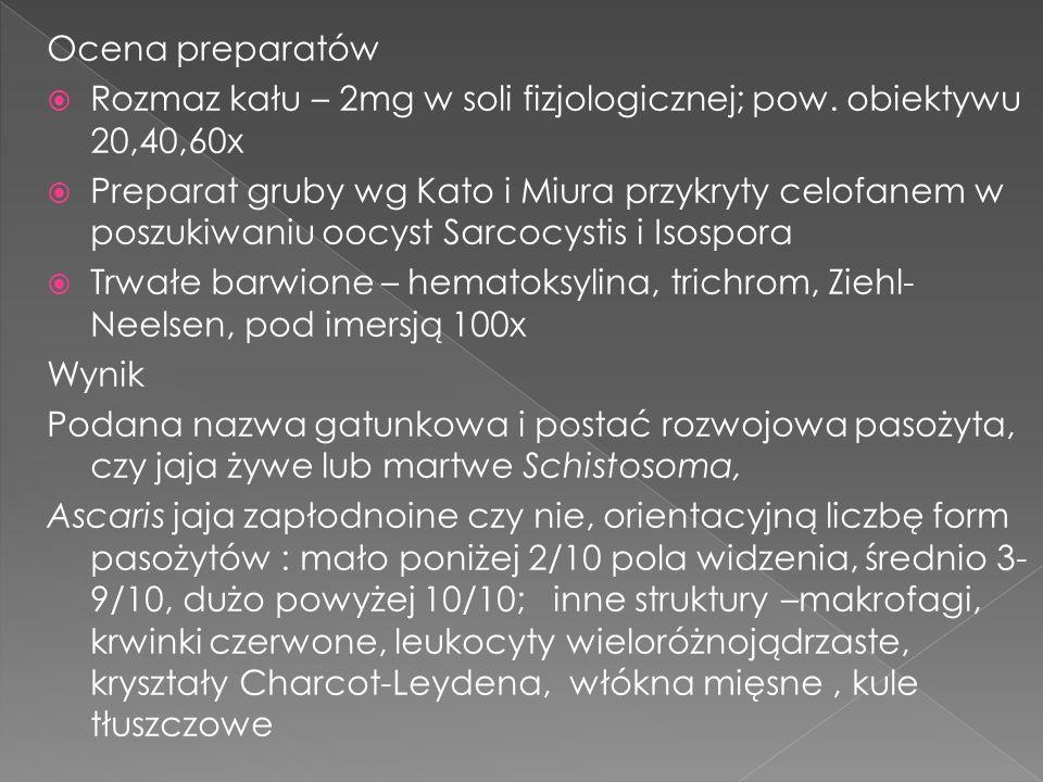 Ocena preparatów Rozmaz kału – 2mg w soli fizjologicznej; pow. obiektywu 20,40,60x.