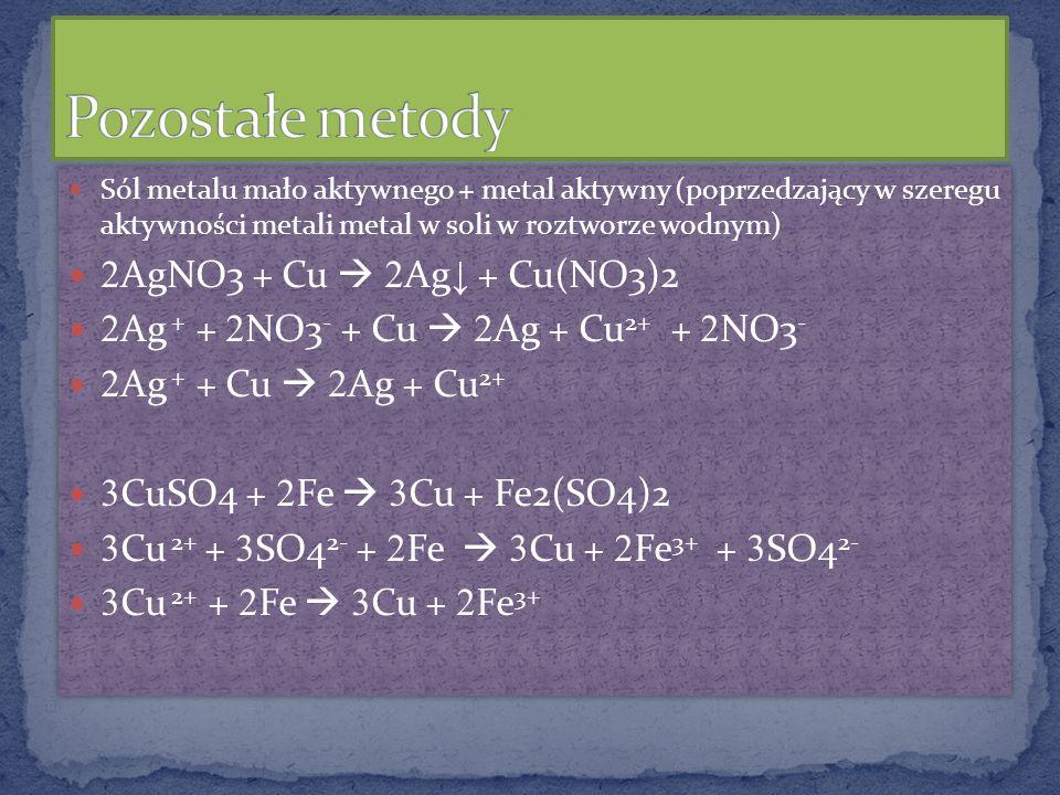 Pozostałe metody 2AgNO3 + Cu  2Ag↓ + Cu(NO3)2