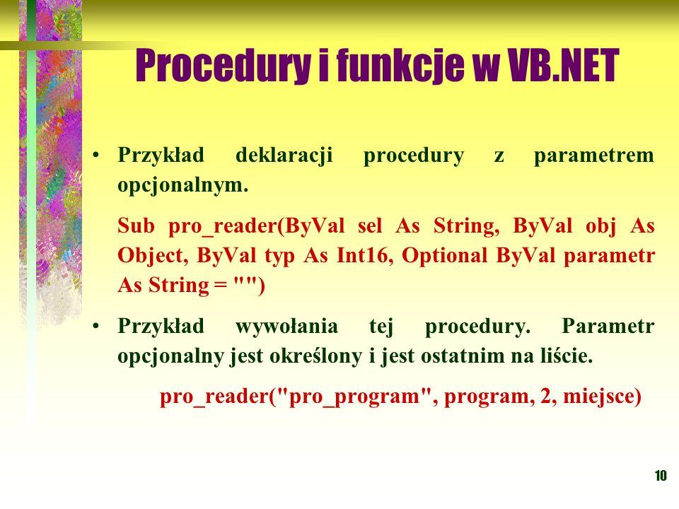 Procedury i funkcje w VB.NET