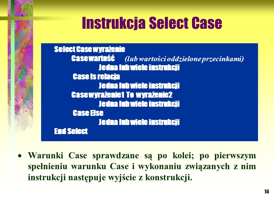 Instrukcja Select Case