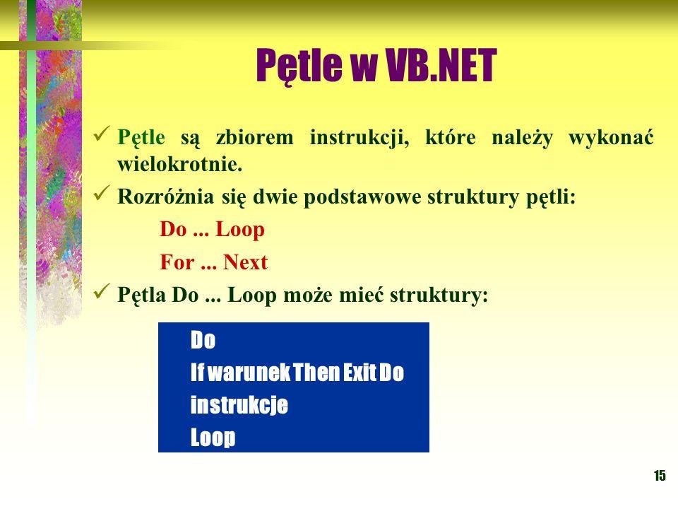 Pętle w VB.NET Pętle są zbiorem instrukcji, które należy wykonać wielokrotnie. Rozróżnia się dwie podstawowe struktury pętli: