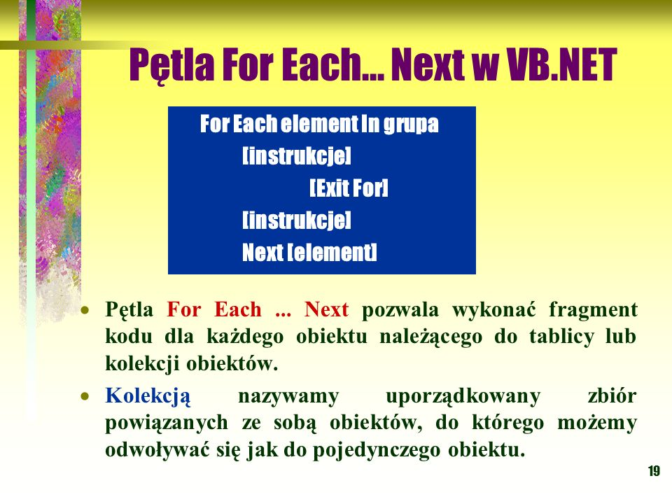 Pętla For Each... Next w VB.NET