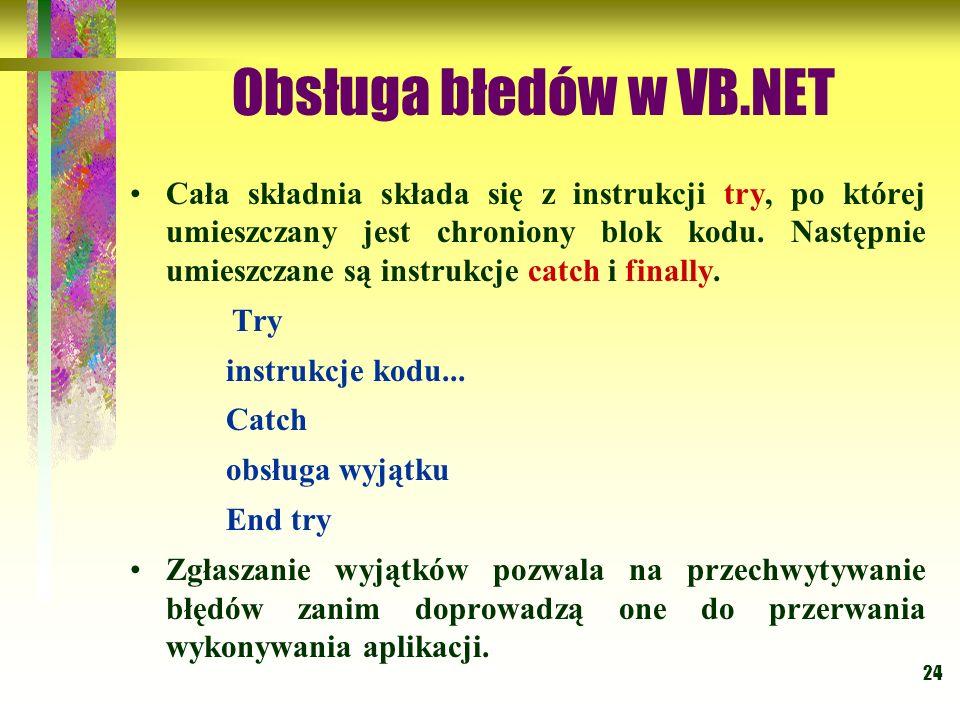Obsługa błedów w VB.NET