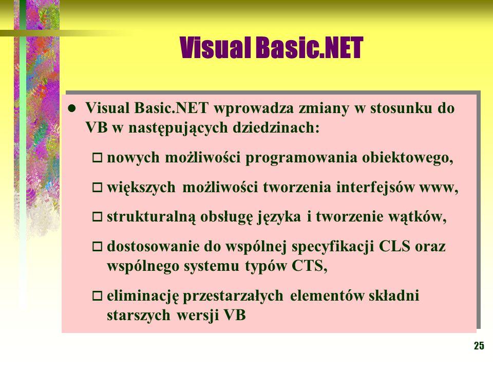 Visual Basic.NET Visual Basic.NET wprowadza zmiany w stosunku do VB w następujących dziedzinach: nowych możliwości programowania obiektowego,