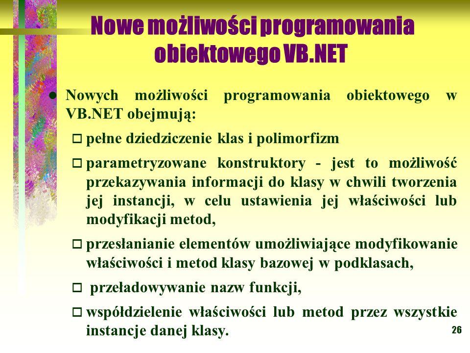 Nowe możliwości programowania obiektowego VB.NET