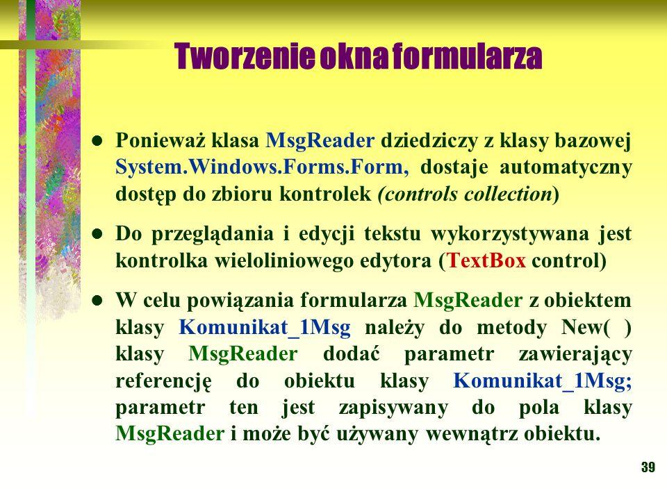Tworzenie okna formularza