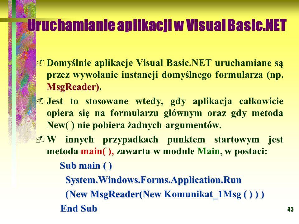 Uruchamianie aplikacji w Visual Basic.NET