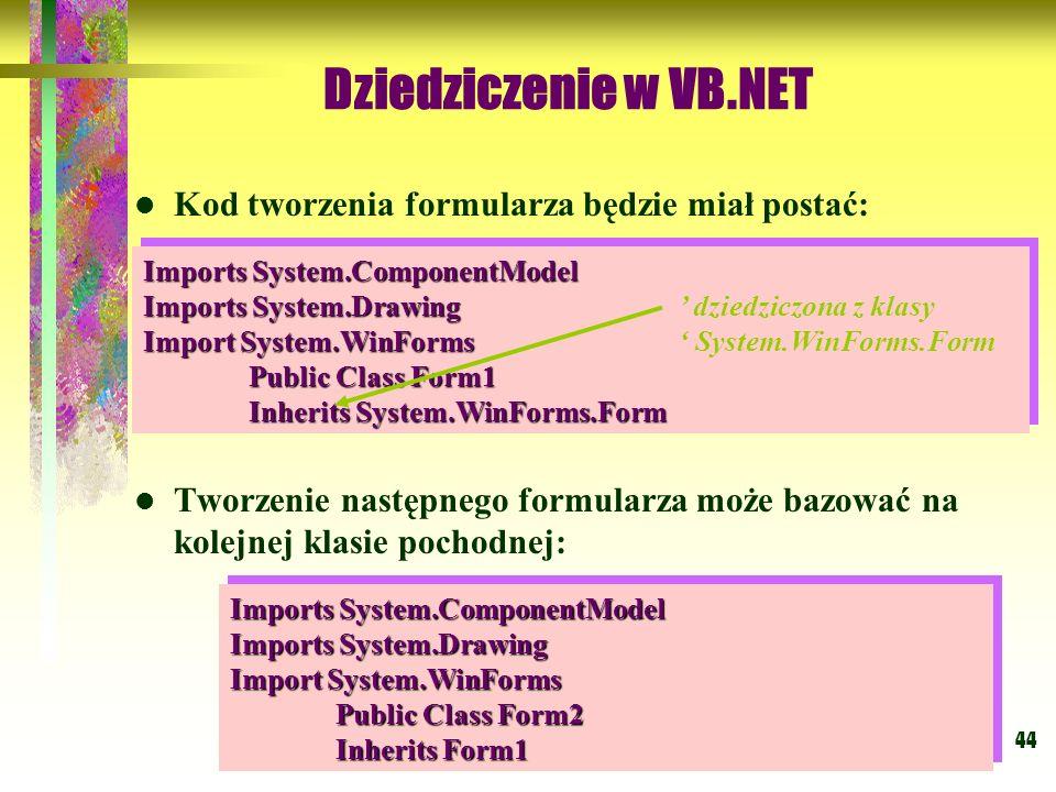 Dziedziczenie w VB.NET Kod tworzenia formularza będzie miał postać:
