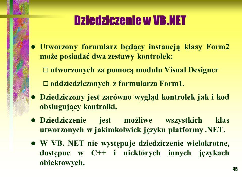 Dziedziczenie w VB.NET Utworzony formularz będący instancją klasy Form2 może posiadać dwa zestawy kontrolek: