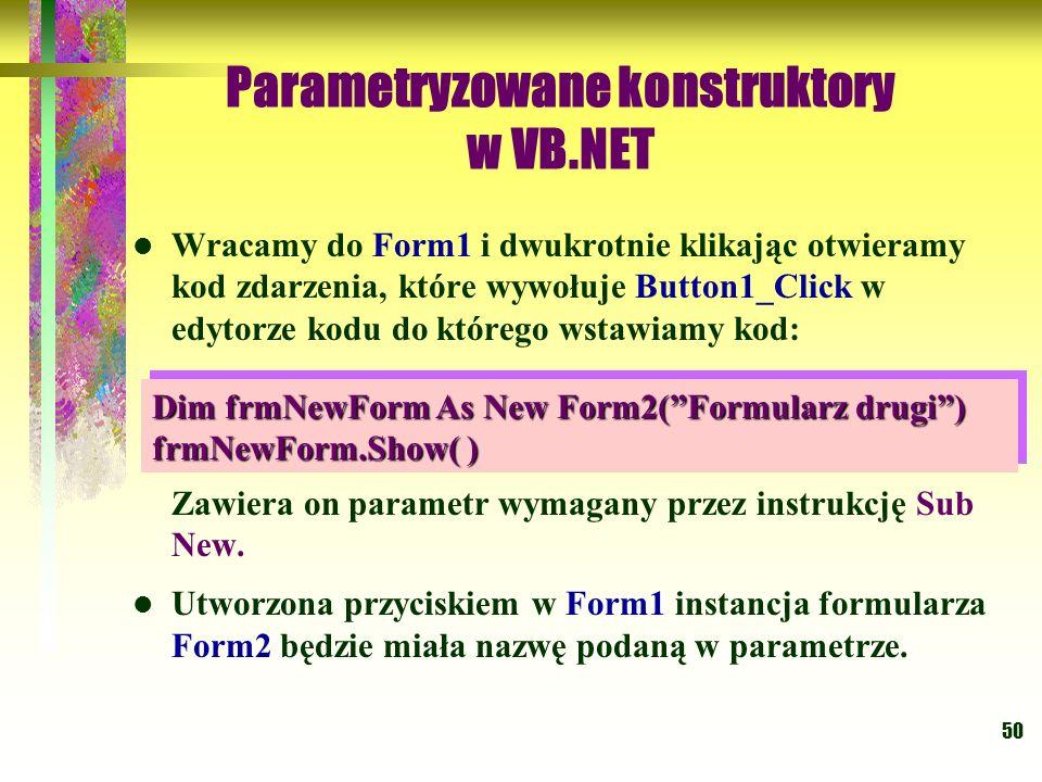Parametryzowane konstruktory w VB.NET