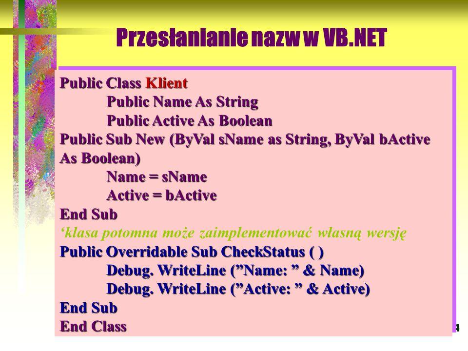 Przesłanianie nazw w VB.NET