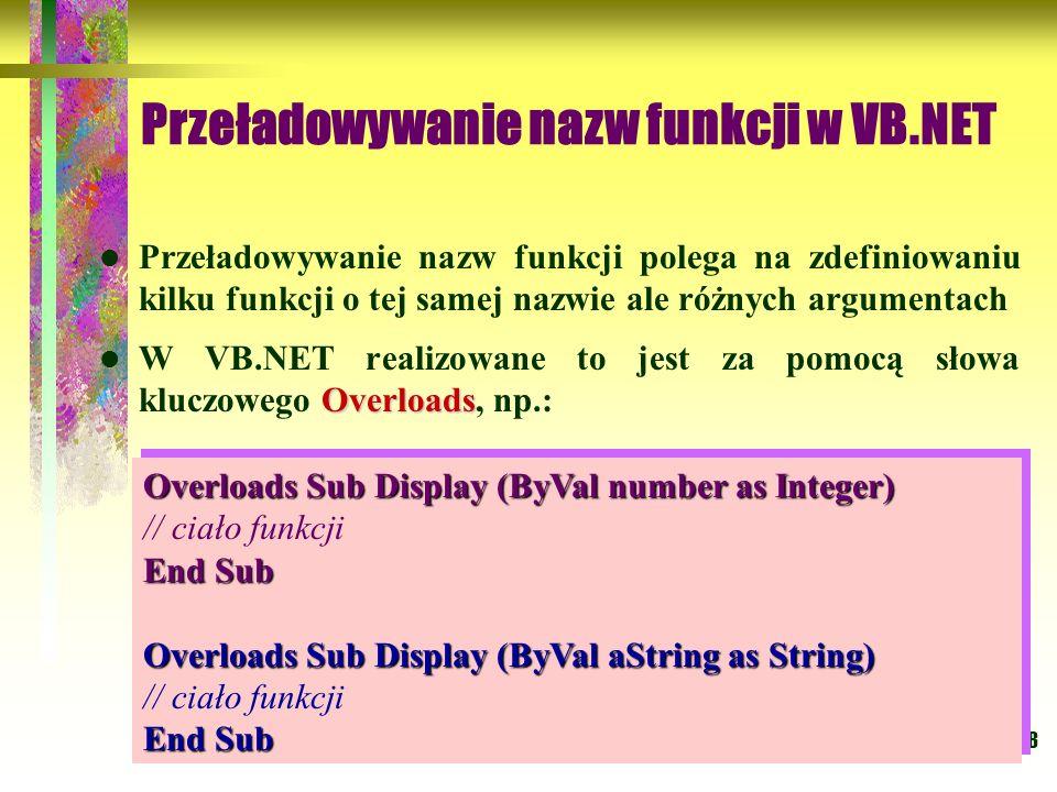 Przeładowywanie nazw funkcji w VB.NET