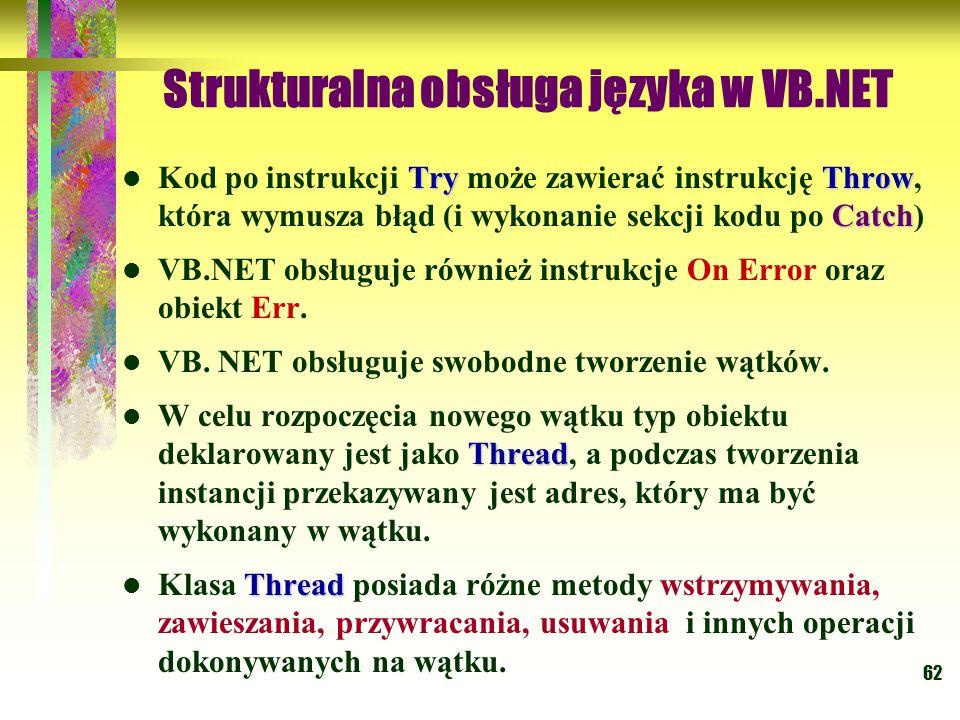 Strukturalna obsługa języka w VB.NET