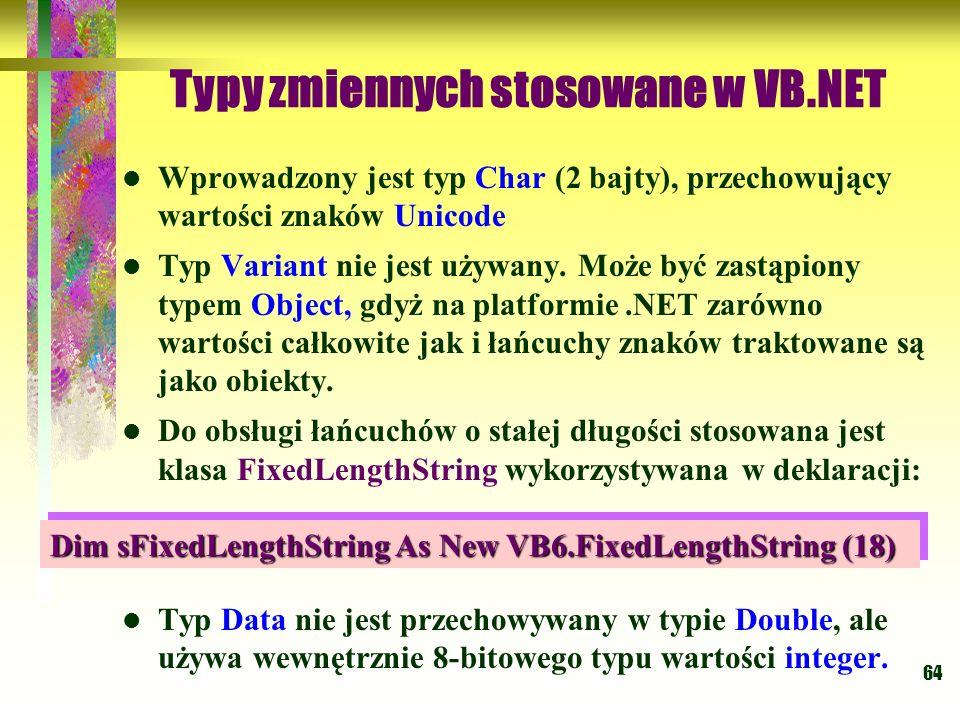 Typy zmiennych stosowane w VB.NET