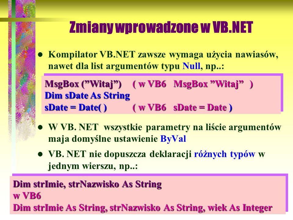 Zmiany wprowadzone w VB.NET