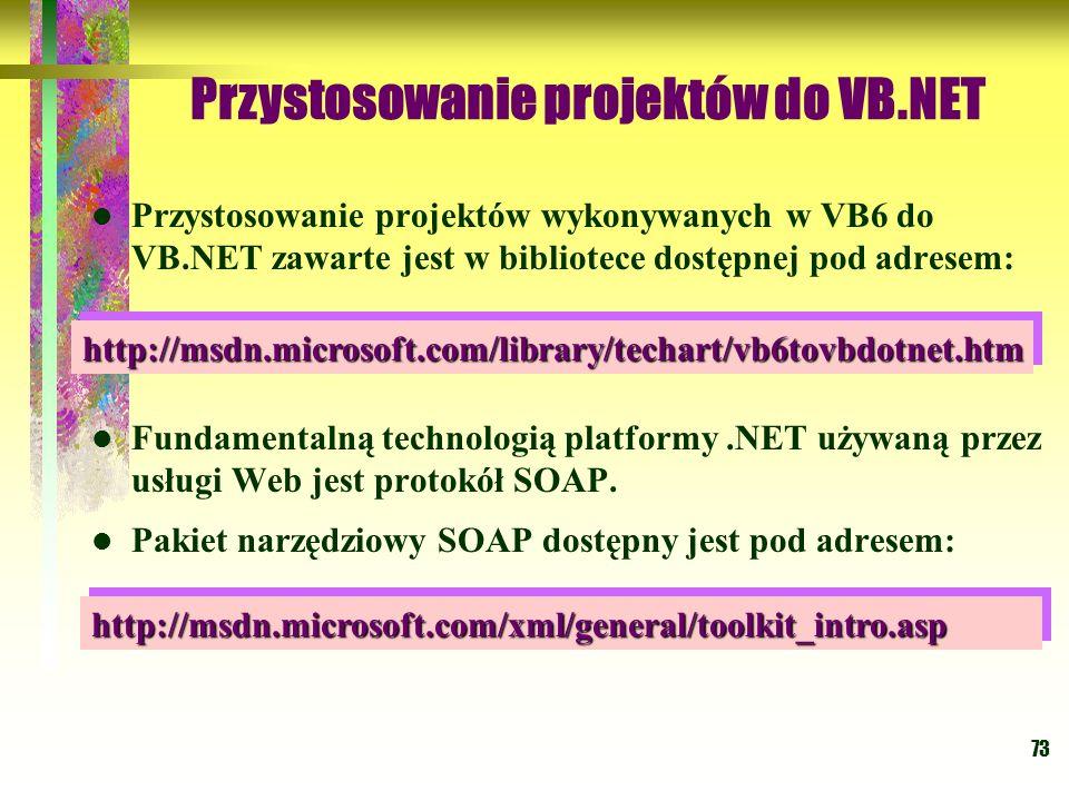 Przystosowanie projektów do VB.NET