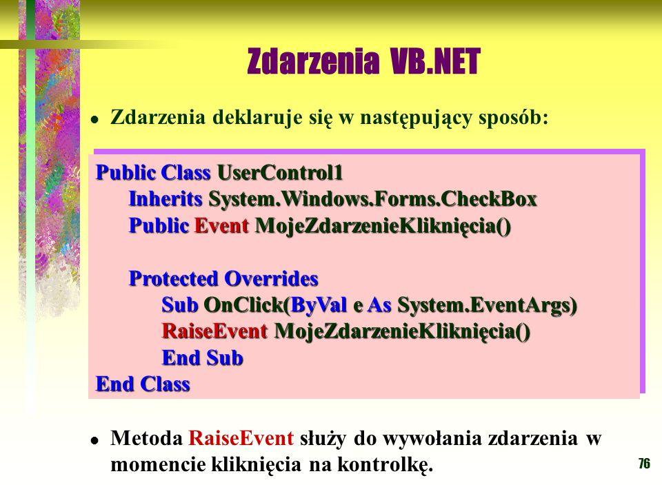 Zdarzenia VB.NET Zdarzenia deklaruje się w następujący sposób: