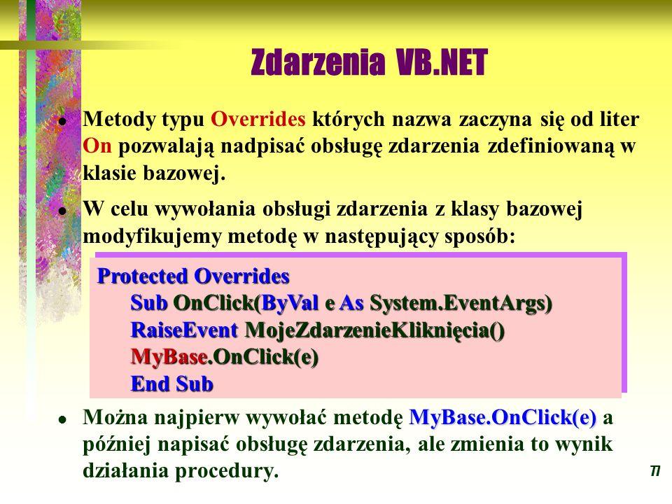 Zdarzenia VB.NET Metody typu Overrides których nazwa zaczyna się od liter On pozwalają nadpisać obsługę zdarzenia zdefiniowaną w klasie bazowej.