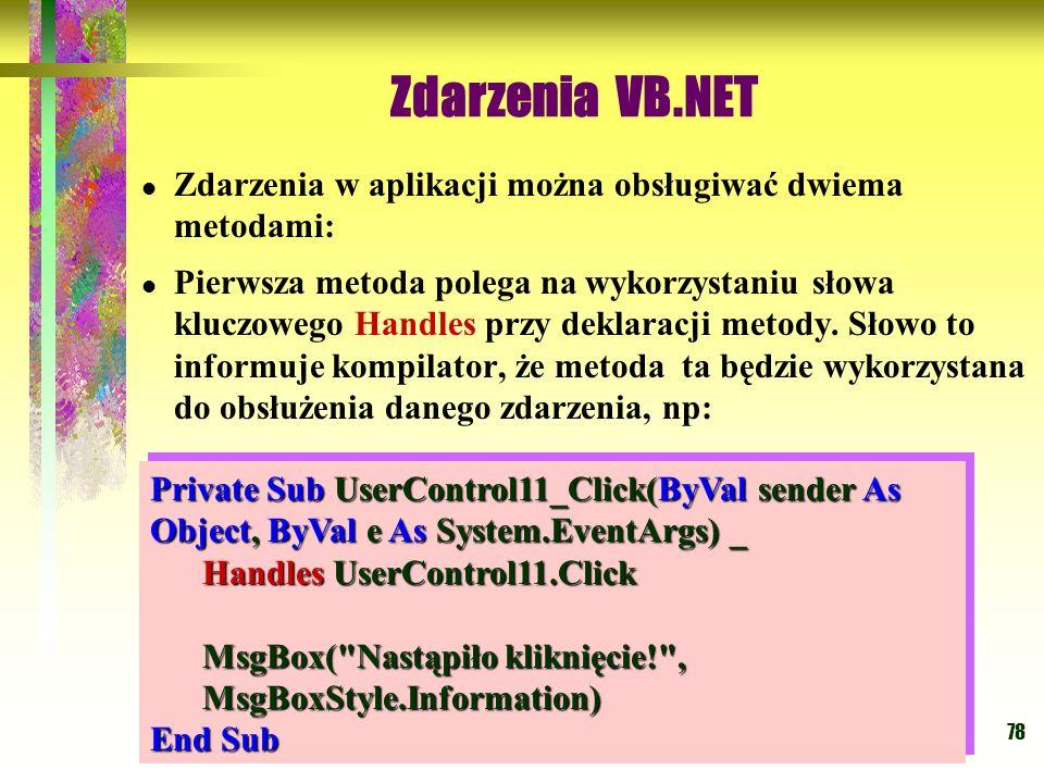 Zdarzenia VB.NET Zdarzenia w aplikacji można obsługiwać dwiema metodami: