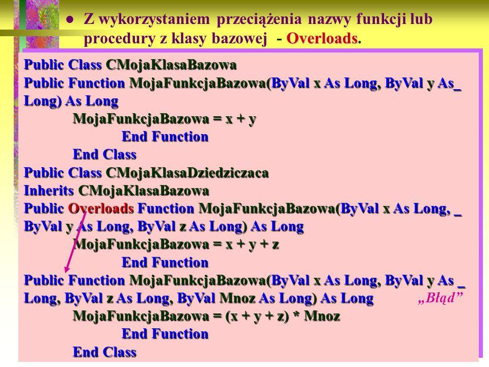 Z wykorzystaniem przeciążenia nazwy funkcji lub procedury z klasy bazowej - Overloads.