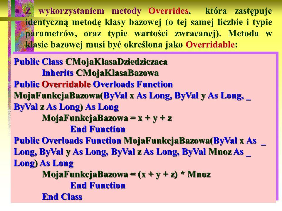 Z wykorzystaniem metody Overrides, która zastępuje identyczną metodę klasy bazowej (o tej samej liczbie i typie parametrów, oraz typie wartości zwracanej). Metoda w klasie bazowej musi być określona jako Overridable: