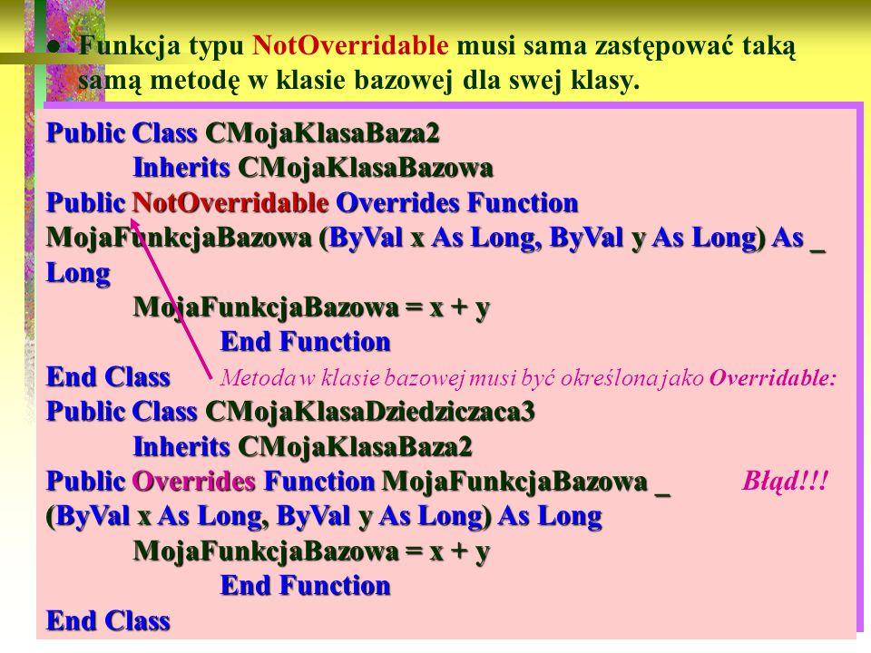 Funkcja typu NotOverridable musi sama zastępować taką samą metodę w klasie bazowej dla swej klasy.