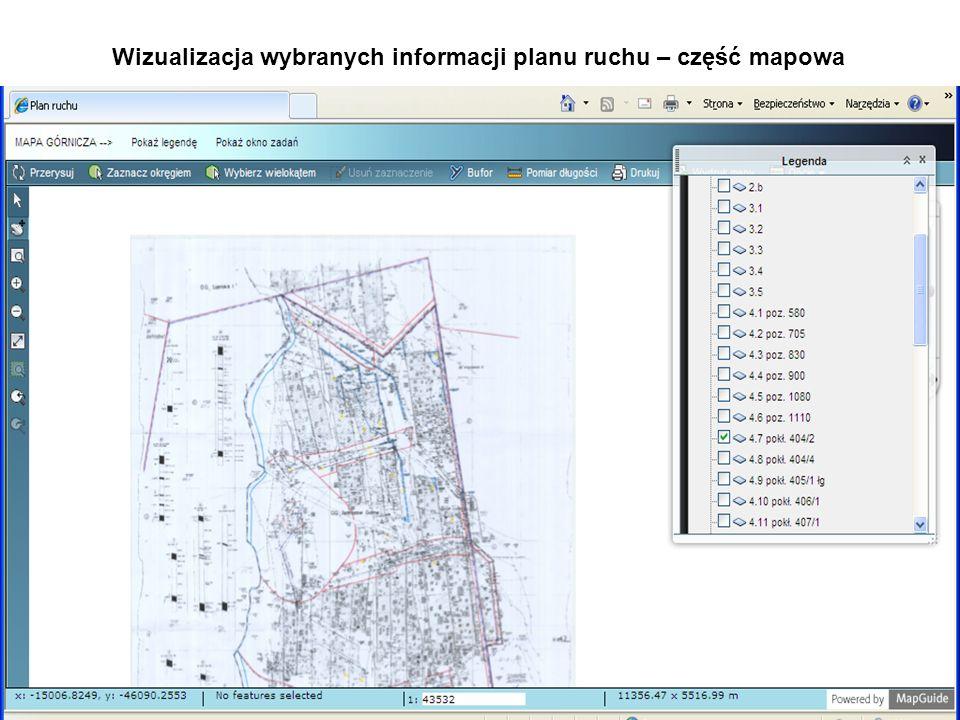 Wizualizacja wybranych informacji planu ruchu – część mapowa
