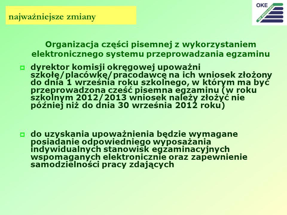 najważniejsze zmiany Organizacja części pisemnej z wykorzystaniem elektronicznego systemu przeprowadzania egzaminu.