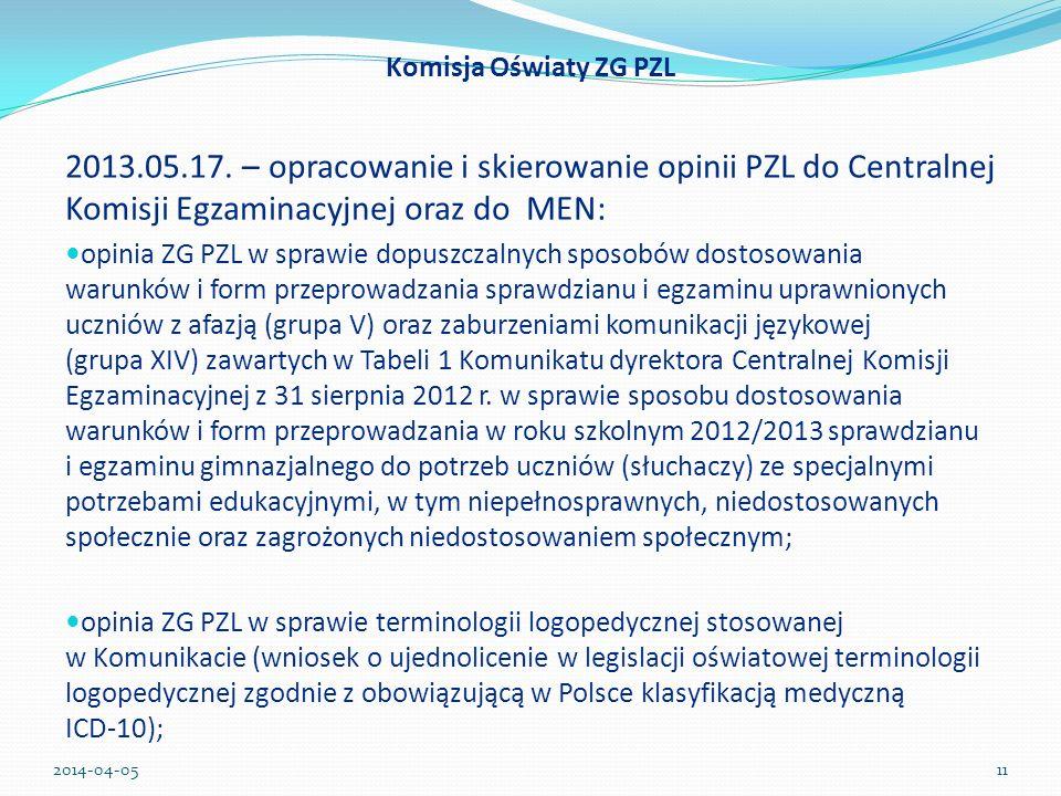 Komisja Oświaty ZG PZL 2013.05.17. – opracowanie i skierowanie opinii PZL do Centralnej Komisji Egzaminacyjnej oraz do MEN:
